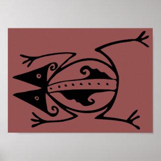 Frog tribal art Argentina ancient folk art Poster