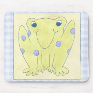 Frog Trio on Gingham Cloth Mouse Pad