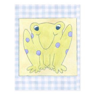 Frog Trio on Gingham Cloth Postcard