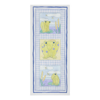 Frog Trio on Gingham Cloth Poster
