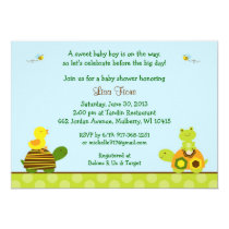 Frog Turtle Duck Baby Shower Invitations