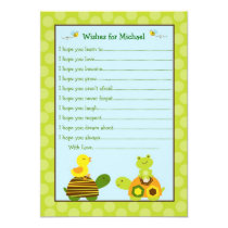 Frog Turtle Duck Wishes for Baby Card