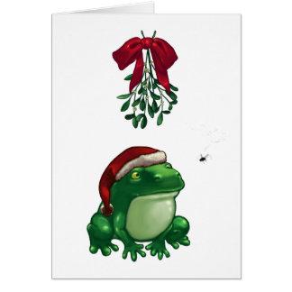 Frog Under Mistletoe Card