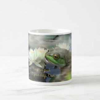frog w 3 water lilies in cloud wisps 2--ITS YOUR P Coffee Mug