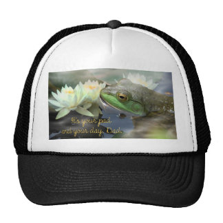 frog w 3 water lilies in cloud wisps 2--ITS YOUR P Trucker Hat