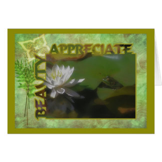 Frog Water Lily Beauty Inspirational Card