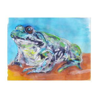 frog watercolour painting on canvass canvas prints