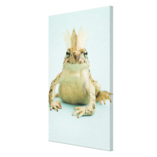 Frog wearing crown canvas print