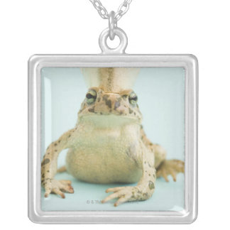 Frog wearing crown silver plated necklace