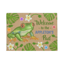Frog Welcome to the Pad Tropical Personalized Name Doormat