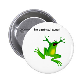 Frog Who Thinks He's a Prince Cartoon Pinback Button