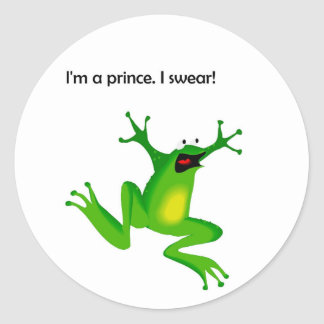 Frog Who Thinks He's a Prince Cartoon Round Stickers