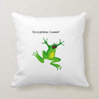 Frog Who Thinks He's a Prince Cartoon Throw Pillow