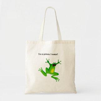 Frog Who Thinks He's a Prince Cartoon Tote Bag