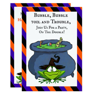 Frog Witch With Cauldron Striped Halloween Party Card
