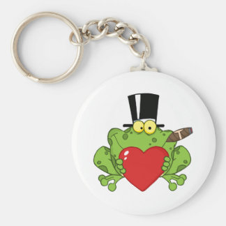 Frog With A Hat And Cigar Holding A Red Heart Keychain