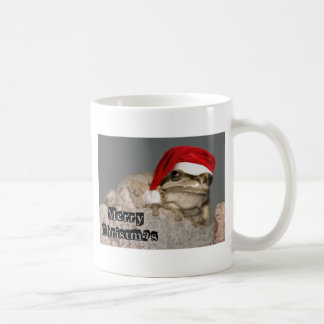 Frog with a Santa Hat Classic White Coffee Mug
