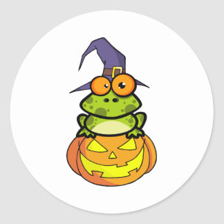 Frog With A Witch Hat In Pumpkin Classic Round Sticker