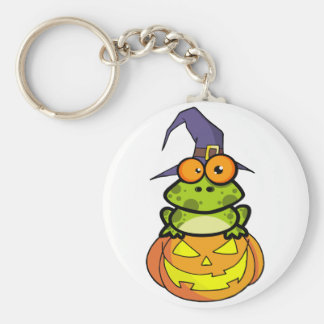 Frog With A Witch Hat In Pumpkin Keychain