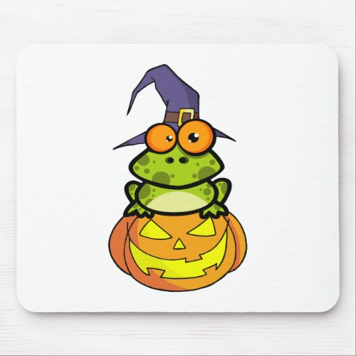 Frog With A Witch Hat In Pumpkin Mouse Pad