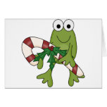 Frog With Candy Canes Tshirts and Gifts Greeting Cards