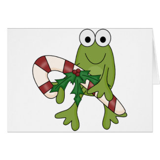 Frog With Candy Canes Tshirts and Gifts Greeting Card