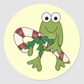 Frog With Candy Canes Tshirts and Gifts Classic Round Sticker