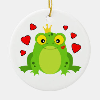 Frog with Crown and Hearts Ceramic Ornament