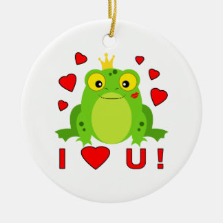Frog with Crown and Hearts I Heart U! Ceramic Ornament