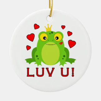 Frog with Crown and Hearts Luv U Ceramic Ornament