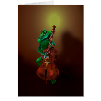 Frog with Double Bass 1 Card