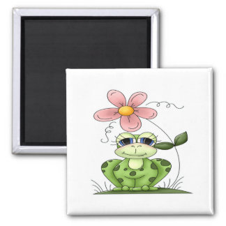 Frog with flower 2 inch square magnet