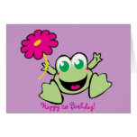 Frog With Flower, Happy 1st Birthday! Cards