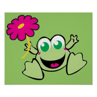 Frog With Flower Posters