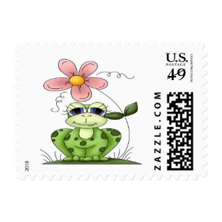 Frog with flower stamps