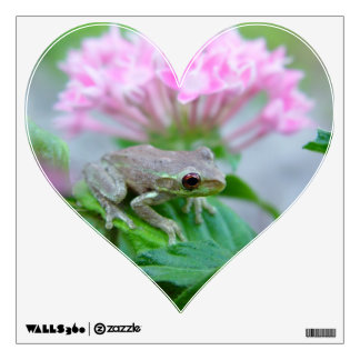 Frog with flowers Heart Wall Decal