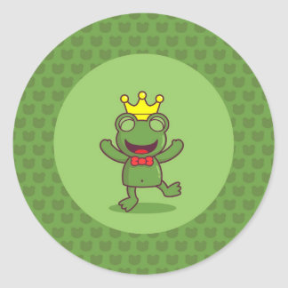 Frog with Frog Pattern Classic Round Sticker