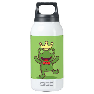 Frog with Frog Pattern Insulated Water Bottle