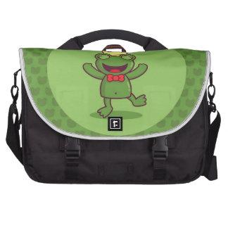 Frog with Frog Pattern Laptop Commuter Bag