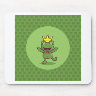 Frog with Frog Pattern Mouse Pad