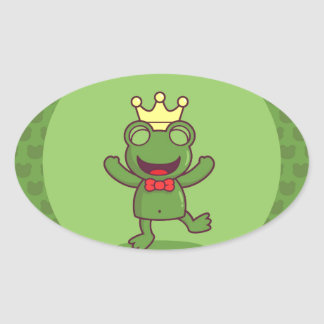 Frog with Frog Pattern Oval Sticker