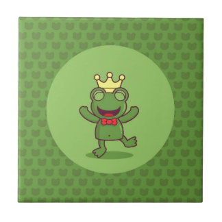 Frog with Frog Pattern Small Square Tile
