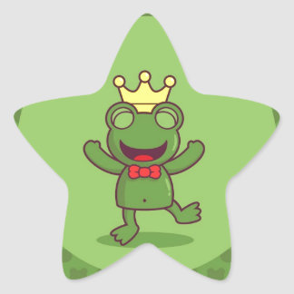 Frog with Frog Pattern Star Sticker