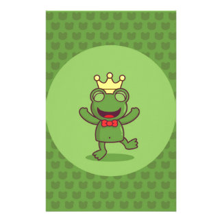 Frog with Frog Pattern Stationery