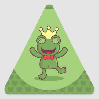 Frog with Frog Pattern Triangle Sticker