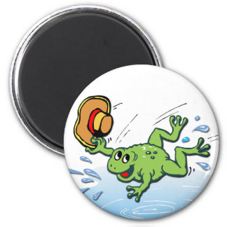 Frog with Hat 2 Inch Round Magnet