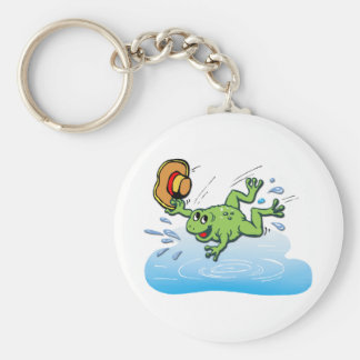 Frog with Hat Basic Round Button Keychain