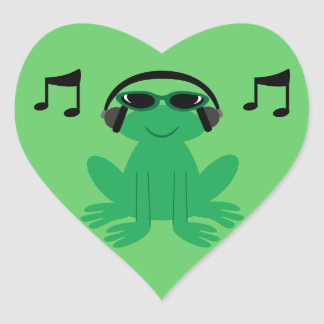 Frog With Headphones, Shades & Musical Notes Heart Sticker