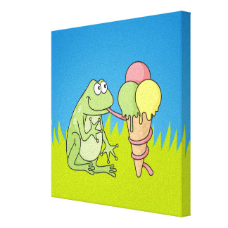 Frog with Icecream Canvas Print