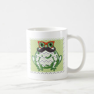 Frog with mustache and fish glasses by Artinspired Coffee Mug